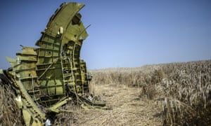 A part of the downed Malaysia Airlines flight MH17 is pictured in a field near the village of Grabovo, Donetsk.