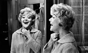 Dora Bryan in her dressing room mirror after having to leave a show with a sore throat, in 1966.