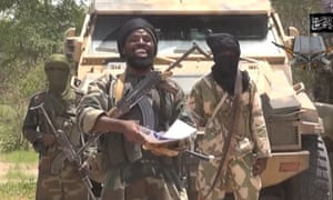 A screengrab from a video released by Boko Haram, in which the leader of Boko Haram, Abubakar Shekau, declared: 'I abducted your girls. I will sell them in the market, by Allah. I will marry off a woman at the age of 12. I will marry off a girl at the age of nine'.