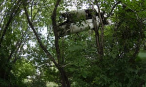 Remains of the aircraft's overhead storage compartment of the crashed Malaysia Airlines Flight 17 is seen in the trees, in the village of Petropavlivka, Ukraine. mh17