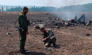 A still from a rebel video purporting to show the crash of a Ukrainian fighter jet.
