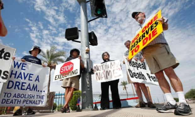 Death penalty opponents protest ahead of the execution of Joseph Rudolph Wood at the state prison in Florence, Arizona.
