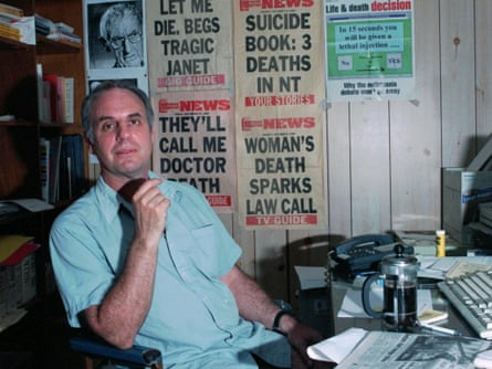 Dr Philip Nitschke in his office in Coolalinga, Northern Territory in 1997.