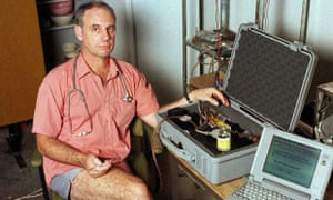 Dr Philip Nitschke in 1996 with his euthanasia delivery system – a laptop and a box containing a syringe which is connected to the patient by intraveneous line and driven by compressed air.  Dr Nitschke assisted in Australia's second legal suicide in Darwin, January 2, 1997, of Janet Mills, 52, who suffered from terminal skin cancer.