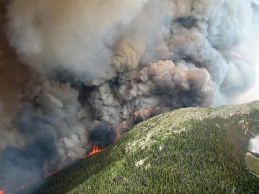 The Mount McAllister wildfire burns 34 miles (56 km) west of Chetwynd in British Columbia, in this handout photo taken July 14, 2014.  Wildfires like this are one source of black soot.