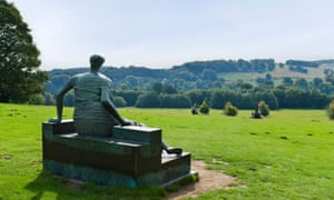 Henry Moore's 'Draped Seated Woman' at Yorkshire sculpture park.