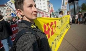 Tatiana Novikova at a Chernobyl march in Minsk, March 2014