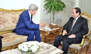 John Kerry meets Egypt's president, Abdel Fatah al-Sisi