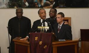 The Rev Al Sharpton iat Garner's funeral.