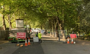 A road closure in Kelvingrove, Glasgow. The city's residents have had to adjust their normal routines to accommodate the Commonwealth Games.