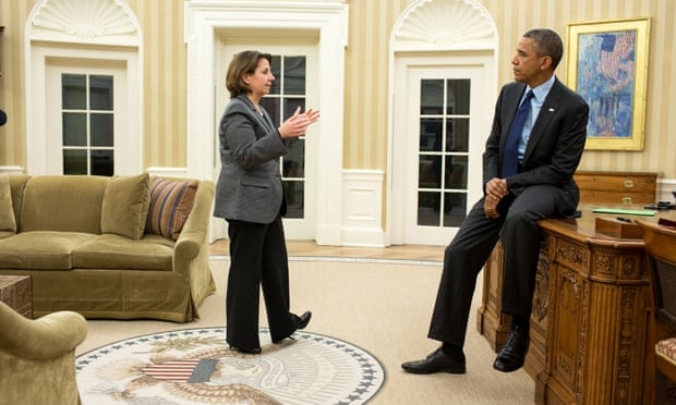 Barack Obama consults his homeland security adviser, Lisa Monaco, in the Oval Office.