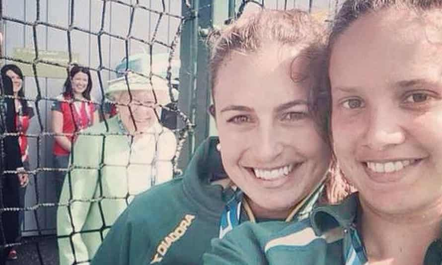 Jayde Taylor's selfie, with a surprise in the background. Photograph: @_JaydeTaylor