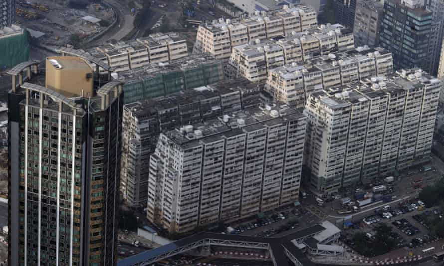 New and old residential building blocks are seen together in the West Kowloon region of Hong Kong.