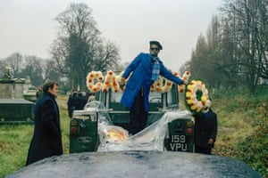 Car mechanic Cassidy requested he go to his grave in a Land rover rather than the traditional hearse, Kensal Rise Cemetery, 1973.