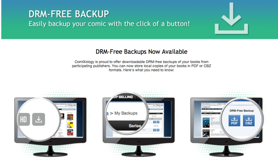 Comixology announces new back-up services.