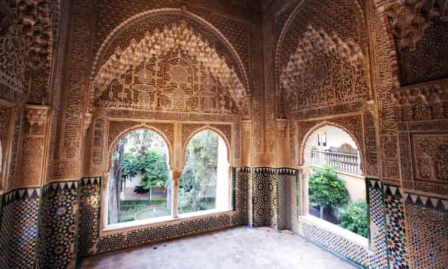 Spain Europe Andalusia Granada Alhambra UNESCO world cultural heritage Lindaraja window architecture