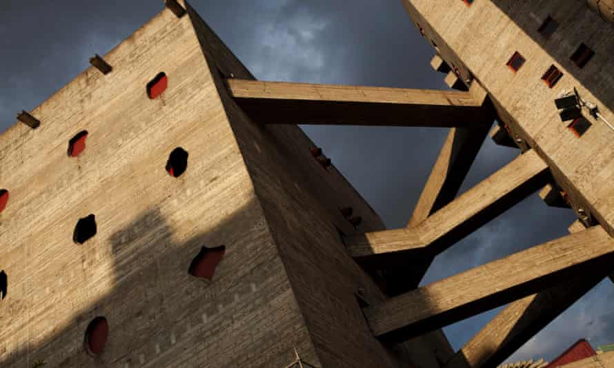 Outdoor corridors designed by architect Lina Bo Bardi at SESC Pompeia cultural and recreational complex in Sao Paulo