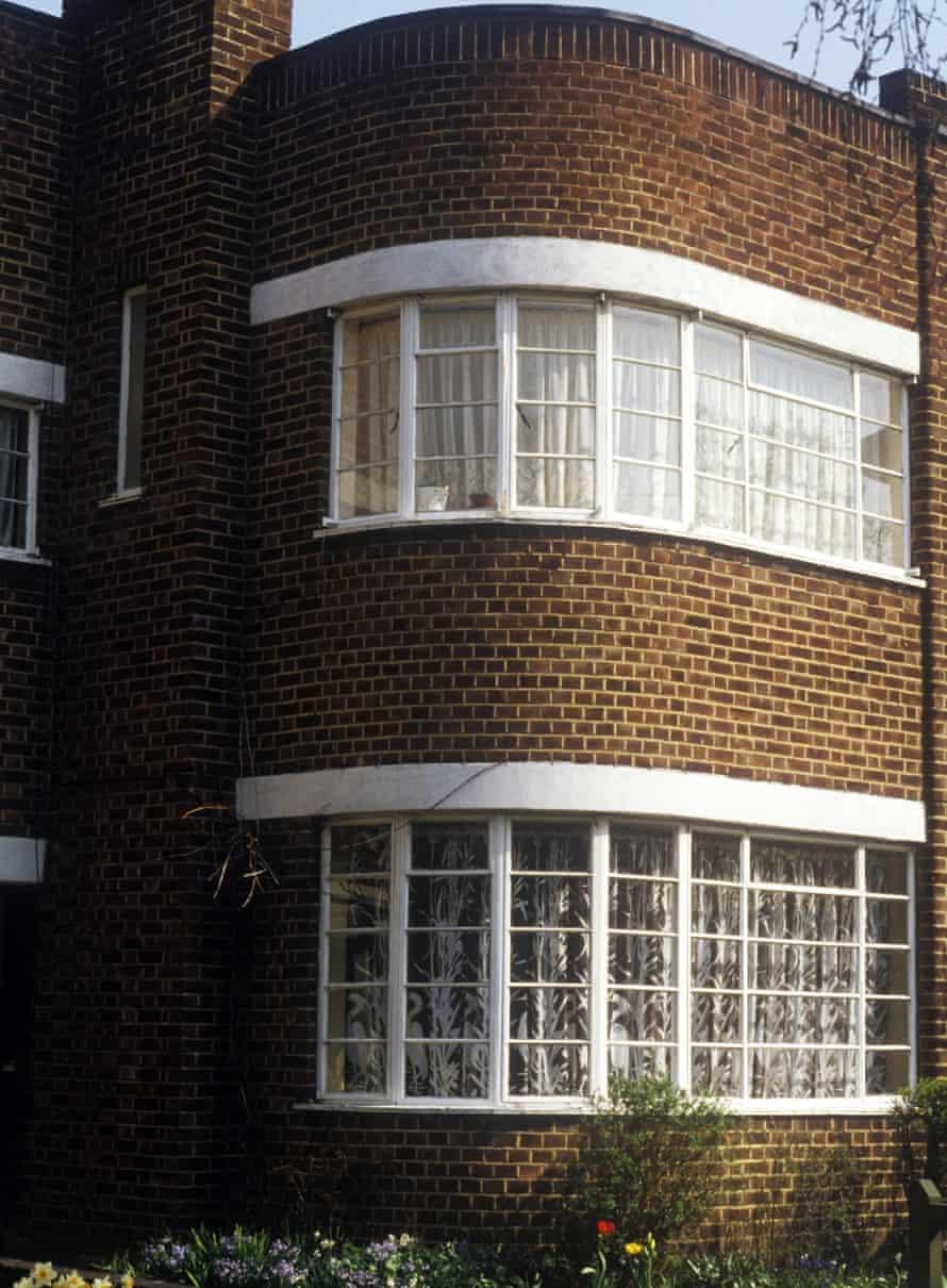 West London, UK detail of suntrap windows on 1930s semi detached suburban house