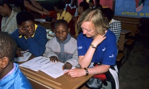 A volunteer helping to teach English at Malealea School, Lesotho