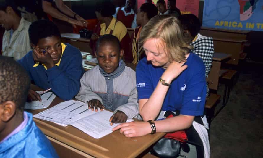 A volunteer helping to teach English at Malealea School, Lesotho