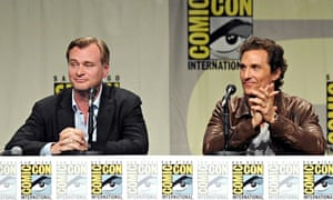 Christopher Nolan (left) and Matthew McConaughey at Comic-Con 2014