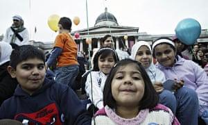 A moveable feast … children celebrate Eid in Trafalgar Square.