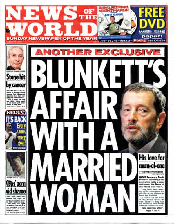 News of the World cover about David Blunkett's affair with Kimberly Quinn, August 2004.