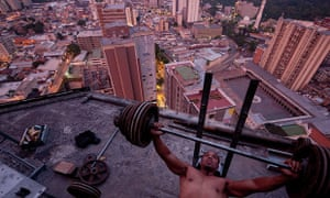 Residents of the Torre David have developed their own strategies for using the lift-less building, such as this improvised rooftop gym.
