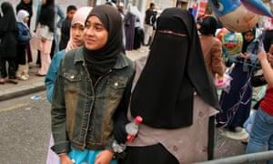 Muslim girls in Whitechapel, east London.