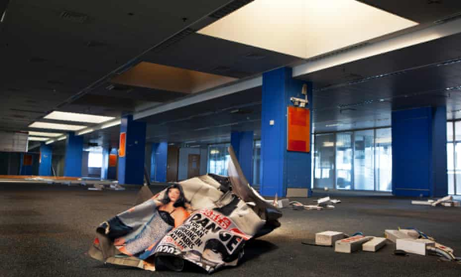 After the fall: the deserted News of the World newsroom, 2012.