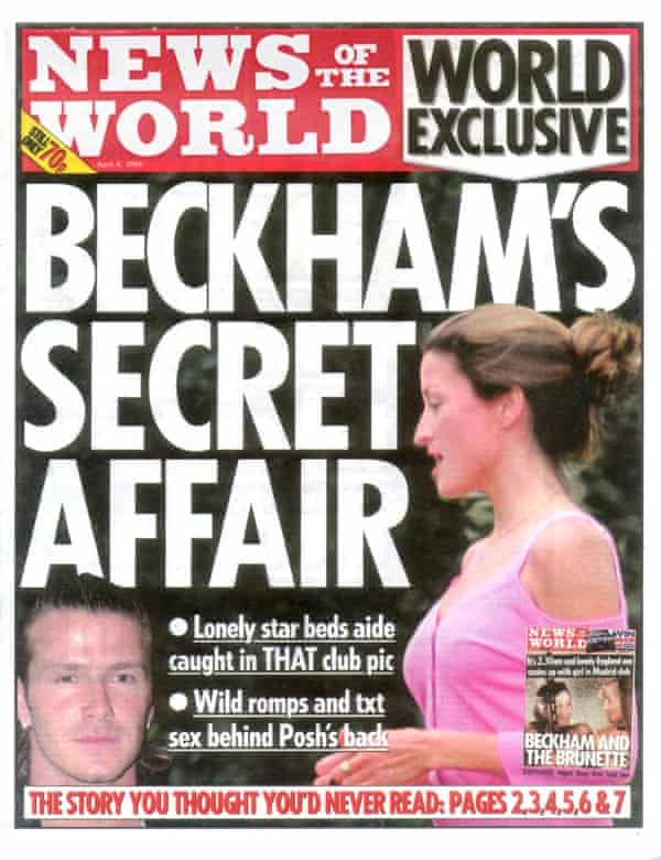 News of the World from April 2004 with the story about David Beckham's alleged affair with Rebecca Loos.
