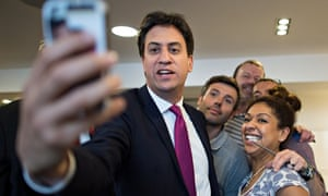 Ed Miliband takes a selfie at a hairdressers in Cambridge