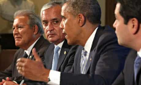 Barack Obama (third left) speaks as Otto Perez Molina (second left) of Guatemala, Juan Orlando Herna