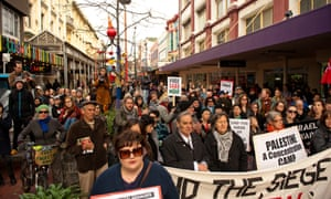 Wellington, New Zealand: Protesters prepare to march to the Israeli embassy