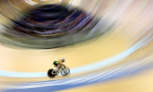 South Africa's Kellan Gouveris competes in the men's 20km scratch race.