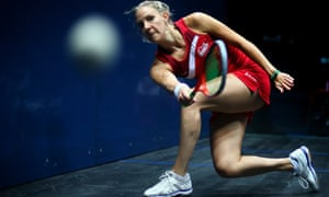Laura Massaro of England plays a forehand during the Women's Singles semi-final match between Alison Waters of England and Laura Massaro of England at Scotstoun Sports Campus during day four of the Glasgow 2014 Commonwealth Games on July 27, 2014 in Glasgow, United Kingdom.  (Photo by Paul Gilham/Getty Images) Commonwealth Games 2014 Squash topics topix bestof toppics toppix