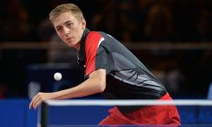 Liam Pitchford (ENG). Mens team semi-final. Table tennis. PHOTO: Mandatory by-line: Garry Bowden/SIPPA/Pinnacle - Tel: +44(0)1363 881025 - Mobile:0797 1270 681 - VAT Reg No: 183700120 - 270714 - Glasgow 2014 Commonwealth Games - Scotstoun Centre, Glasgow, Scotland, UK CWG
