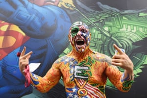 """An attendee called """"Nomad"""" of the group Dive Bomber poses on the first day of the 45th annual Comic-Con in San Diego."""