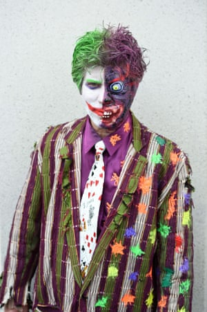 Attendee George Koutsikides is dressed as a combination of the two Batman villains Two-Face and The Joker.