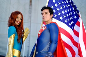 Belinda Sainz, left, and Bersain Gutierrez, both of San Diego, CA, portray the characters Phoenix and Superman.