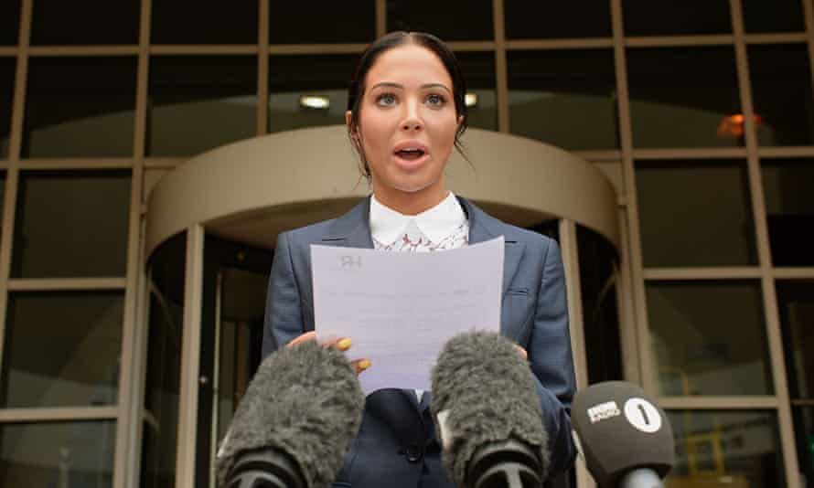 Tulisa Contostavlos makes a statement to the media