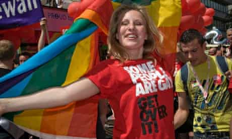 Woman in Stonewall t-shirt some People are gay. Get over it! at Pride London 2008 Parade