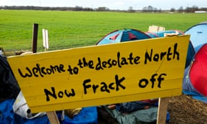 Signs at the anti-fracking protest camp set up at Barton Moss in Salford where energy company iGas has built a vertical test well