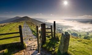 Hope Valley below The Great Ridge, Peak District national park, Derbyshire.
