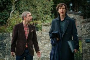 Martin Freeman (left) as John Watson and Benedict Cumberbatch as Sherlock Holmes in the final episode of Sherlock season 3, His Last Vow.