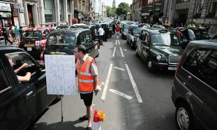 London Taxi drivers demonstrate against the Uber cab app and other methods that they say allow unlicensed drivers to operate.