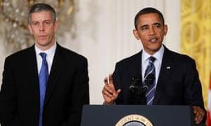 President Barack Obama, accompanied by Education Secretary Arne Duncan