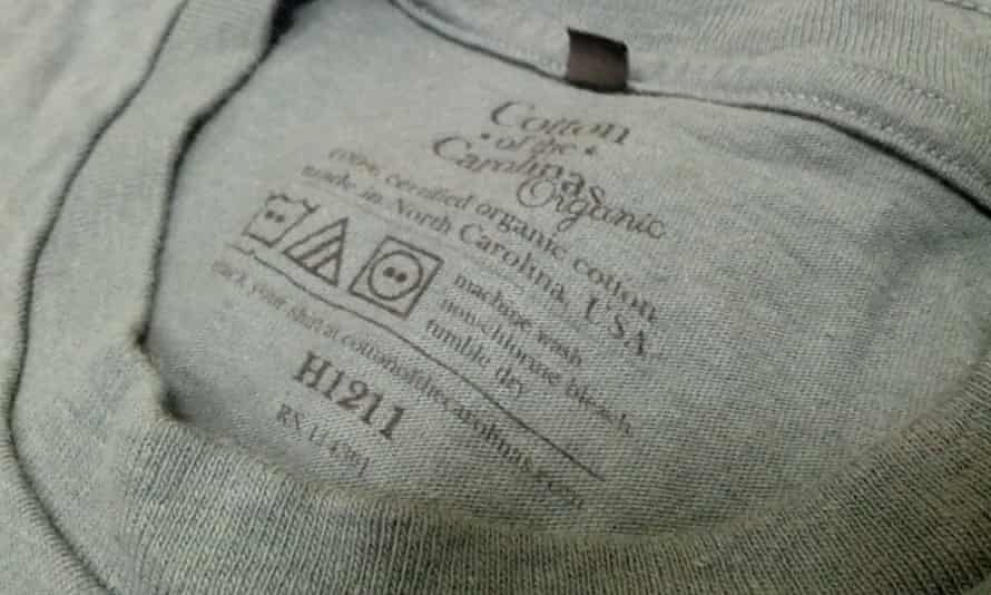 Label on T-shirt made by Cotton of the Carolinas