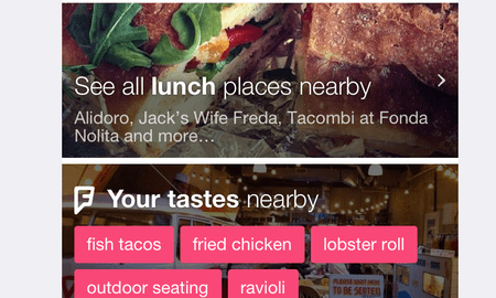 A portion of Foursquare's new app.