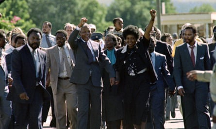 Nelson Mandela and his then wife Winnie Madikizela-Mandela raising fists upon his release from 27 years of imprisonment, 11 February 1990.